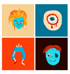 Colorful zombie scary cartoon character cards vector