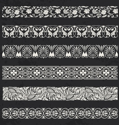 Decorative seamless ornamental borders vector image