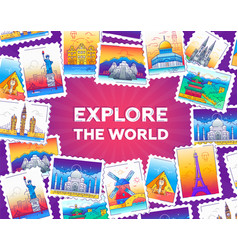 Explore the world - line travel vector