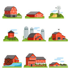 farm buildings and constructions set agriculture vector image