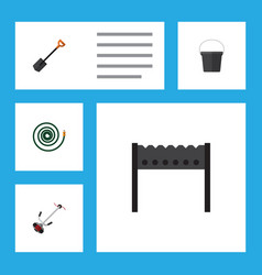 Flat icon garden set of pail spade hosepipe and vector