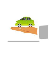 flat man hand palm with green car vehicle vector image