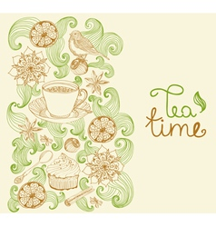 Floral card with tea cup vector