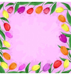 flowers tulips on a pink vector image
