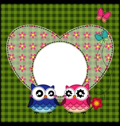 Frame of cute owls vector image vector image