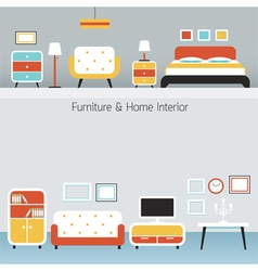 Furniture Flat Design Frame and Background vector image vector image