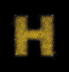 gold dust font type letter h vector image
