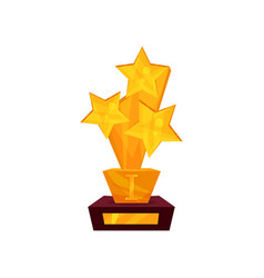 golden award in the form of stars on a stand gold vector image vector image