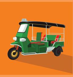 Green tuk tuk in thailand vector
