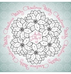 Hand drawn merry christmas floral vector
