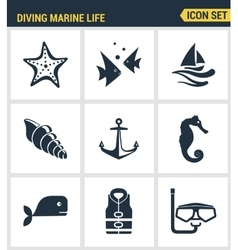 Icons set premium quality of diving marine life vector