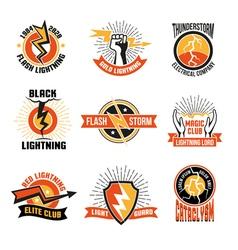 Lightning logo emblem set vector