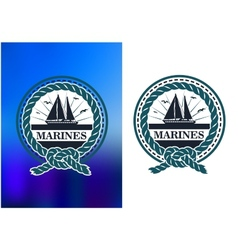 Marines circle emblem logo in retro style vector
