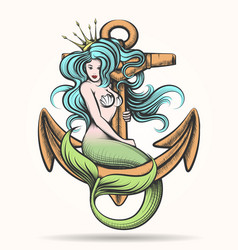 Mermaid with crown on the anchor vector