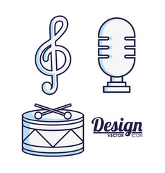 microphone and music related icons vector image