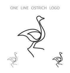 Ostrich One Line Logo Minimalism Style Logotype vector image vector image