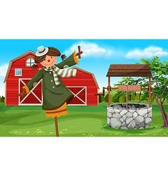 Scarecrow in the farmyard vector
