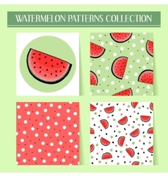 Seamless hand drawn watermelon patterns set vector image