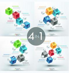 Set of 4 creative infographic design templates vector