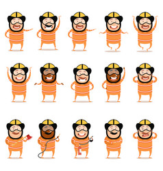 set of flat firemen cartoon character icons vector image