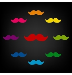 Set of moustaches icon vector image