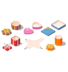 Set of opened different presents and gifts boxes vector