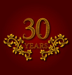 thirty years anniversary celebration patterned vector image