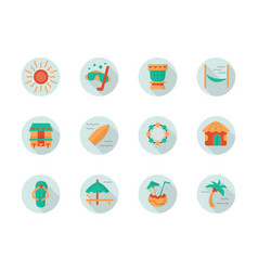 tropical beach vacation round flat icons vector image vector image