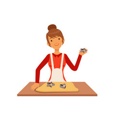 young woman making pastry housewife girl cooking vector image