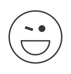 happy wink emoticon icon vector image