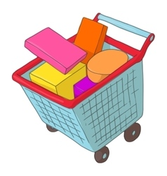 Basket on wheels with shopping icon cartoon style vector