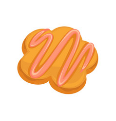 Homemade bakery product with strawberry topping vector
