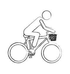 monochrome sketch pictogram of man in sport bike vector image
