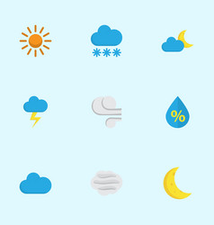 Meteorology flat icons set collection of sun the vector