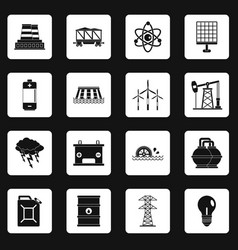 energy sources items icons set squares vector image