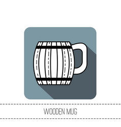 Wooden mug for beer drinks black and white flat vector