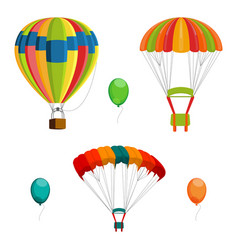 Set of colorful air balloon and parachutes vector