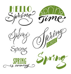 calligraphic spring inscriptions set vector image