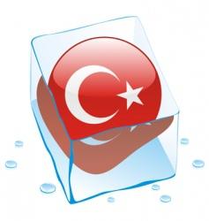 frozen button flag of turkey vector image