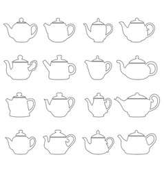 Set of outlines of teapots vector