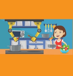 Domestic personal robot helps to owner at kitchen vector