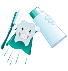 Tooth superman holds toothpaste and toothbrush vector