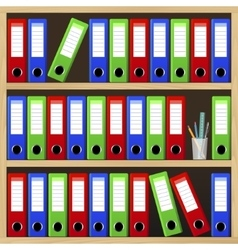 Shelves with file folders vector
