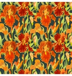 Floral seamless pattern red iris flower vector