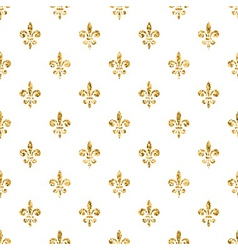 Golden fleur-de-lis seamless pattern white 4 vector image