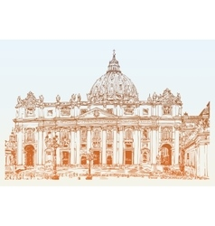 St peters cathedral rome vatican italy hand vector