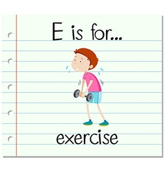 Flashcard letter e is for exercise vector