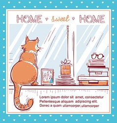 Home sweet home cardwindowsill with home love vector