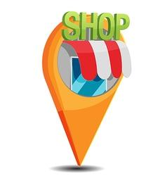 Shop map navigator pin icon vector
