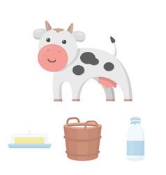 a barrel of milk butter a cow milk set vector image